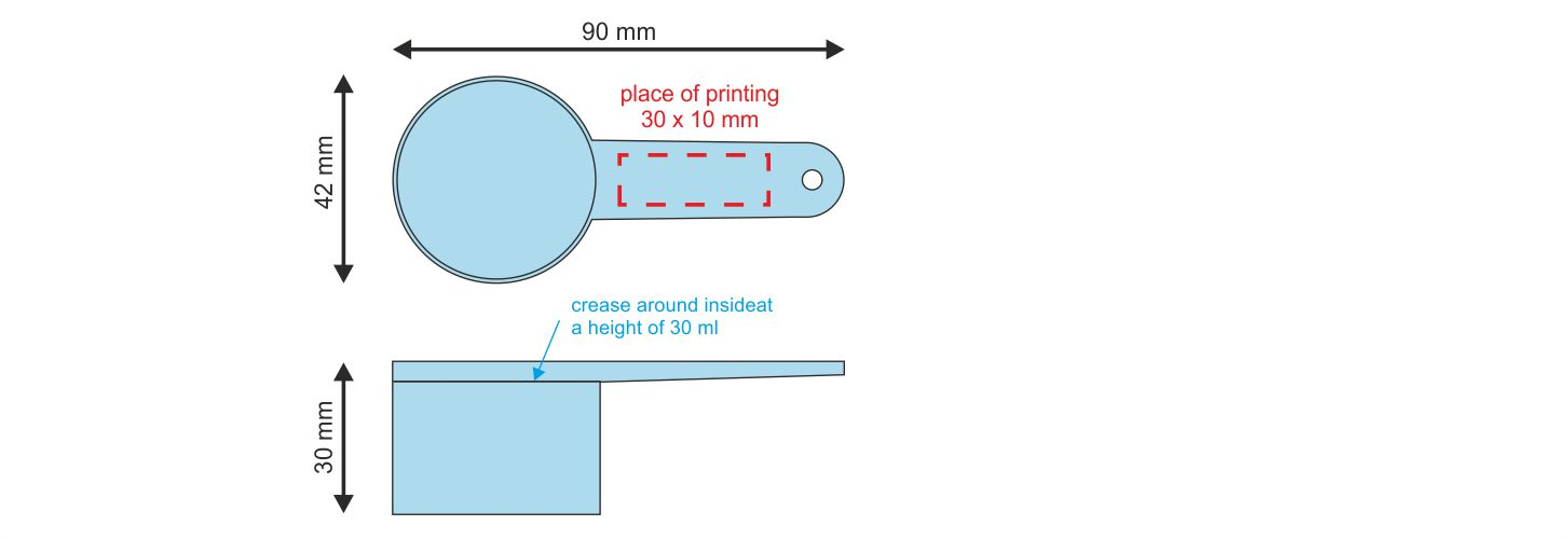 Spoon PIKO-S 30 ml - place of printing
